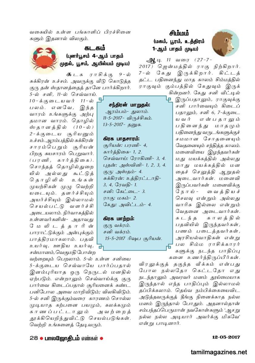 Balajothidam Raasi Palan May 9-15, 2017