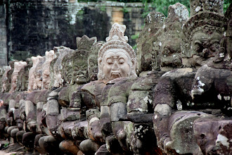 Photo: Year 2 Day 44 -  The Other Line of Figures of the Giant's Causeway at the South Gate Entrance to Angkor Thom