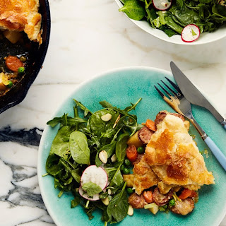 Potato, Leek, and Pea Pot Pie With Spinach-Arugula Salad
