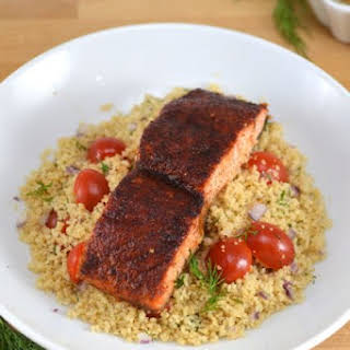 Maple Glazed Salmon with Tomato-Dill Couscous.