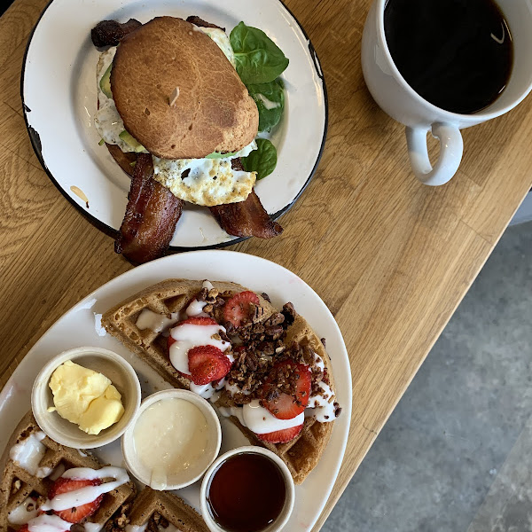 Breakfast sammie and waffle!