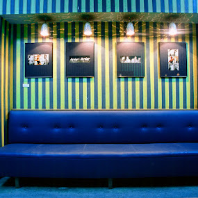 by Lorant K. Racz - Buildings & Architecture Other Interior ( design seat couch light cinema flick blue yellow stripes )