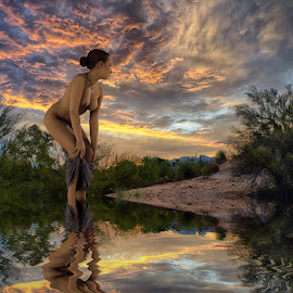 Skinny Dipping by Charlie Alolkoy - Digital Art People ( reflection, nude, sunset, woman, sunrise )