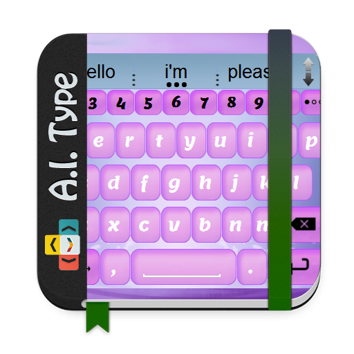 个人化のピンクと紫 AiType テーマ LOGO-記事Game