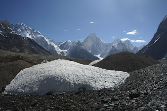 Photo: Gasherbrum IV (7925m) (centre) with Broad Peak (8051m) on the far left from the Baltoro Glacier