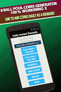Pool instant rewards Lite - Free coins for 8 ball - náhled