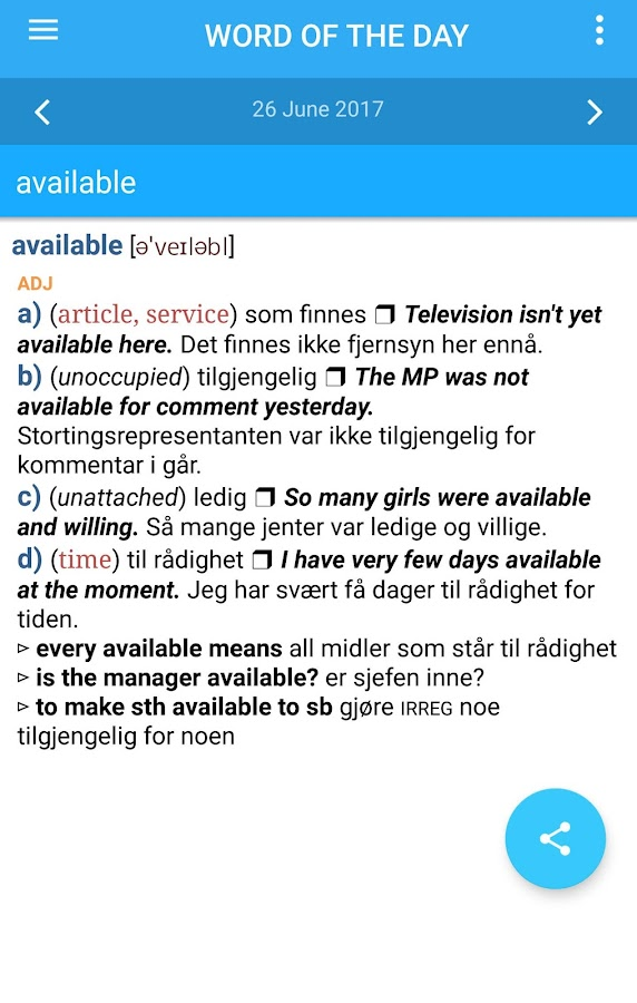 Collins Norwegian Dictionary- screenshot