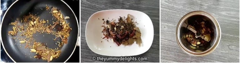 roast whole spices to make biryani masala powder recipe