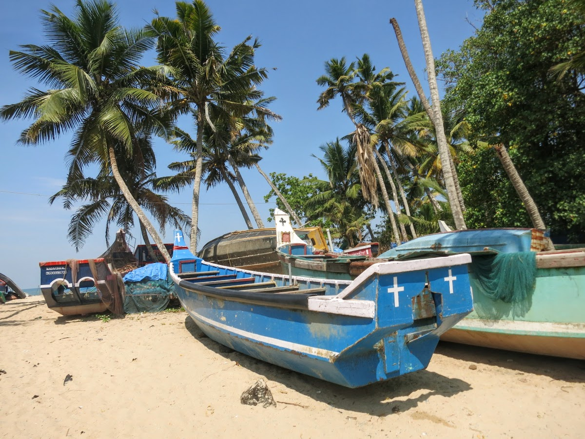 India. Kerala Motorbike Road Trip. Fishing boats on the Arabian Coast