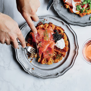 Tater Tot Waffles with Smoked Salmon and Caviar.