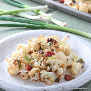 Roasted Cauliflower With Carmelized Green Onion and Bacon.