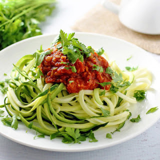 Lentil Fra Diavolo Over Zucchini Pasta [Vegan, Gluten-Free]