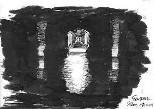 Photo: 微光之二2011.03.14鋼筆 看守所對面長廊的䀆頭是女監,幾乎被黑暗吞噬,兩旁的柱子活像鬼魅…