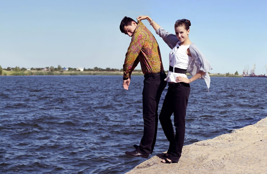 Hangs not Hugs by Alexander Baranov - Digital Art People ( collage prewedding man woman strenght summer day )