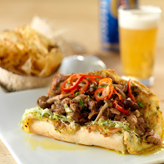 """Malaysian """"Roti John"""" Sandwich – Trotter Curry in Egg Crusted Bread with Pickled Mushrooms and Toasted Coconut."""