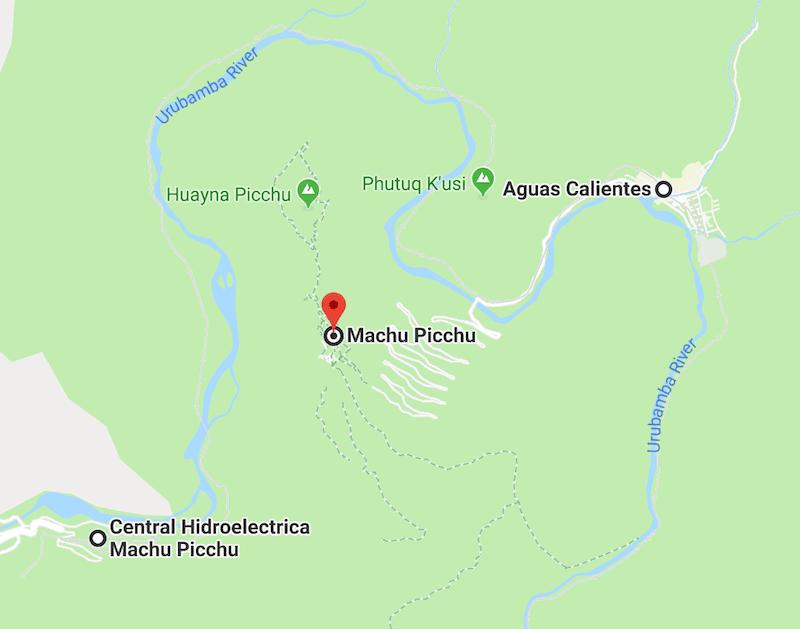 Hidroeléctrica+aguas+calientes+machu+picchu+google+maps