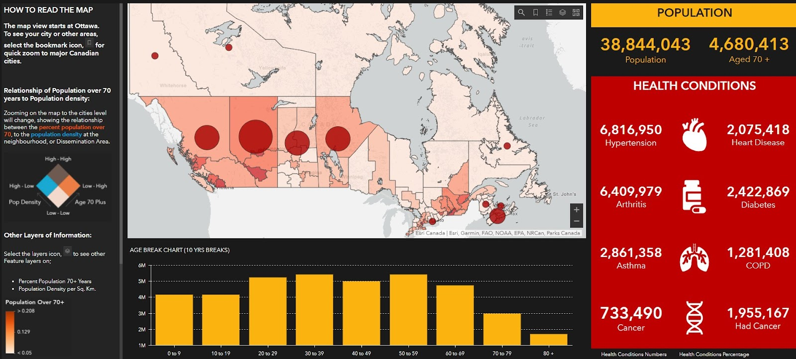 at risk populations in Canada, age 70 plus, maps during covid