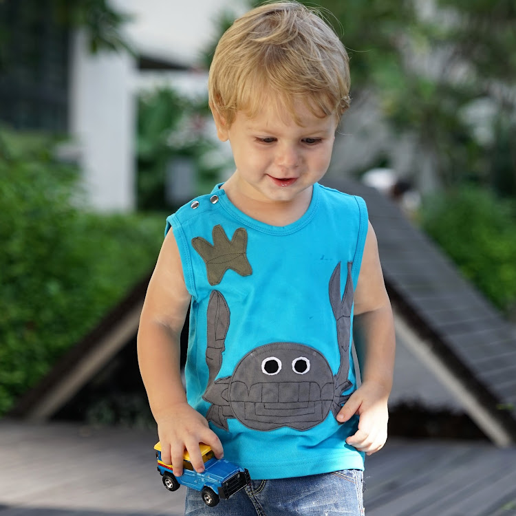 Star Moon Mr Crab Singlet in Turquoise (2 years)