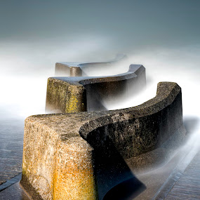 Misty Blue by Raymond Mcbride - Landscapes Beaches ( groynes, seascapes, beach, sea defences, nautical )