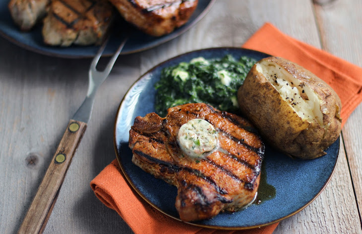 Dry Rubbed Porterhouse Pork Chops with Steakhouse Butter Recipe