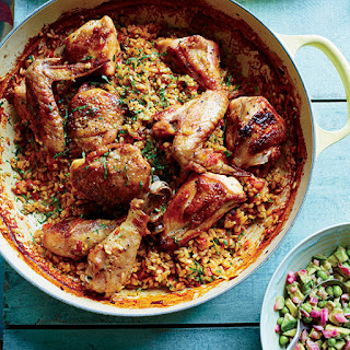 Arroz con Pollo with Avocado-Green Pea Salsa