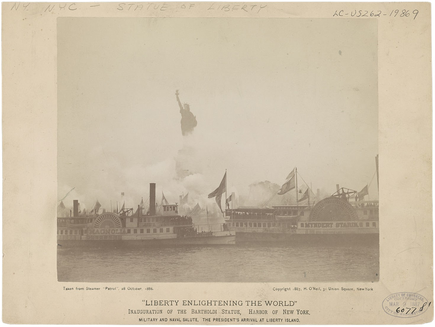 A military salute for the president's arrival at Liberty Island during the inauguration of the Statue of Liberty, taken from the 'Patrol' in 1886