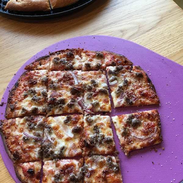 The Gluten free Bacon cheeseburger pizza is very delicious!