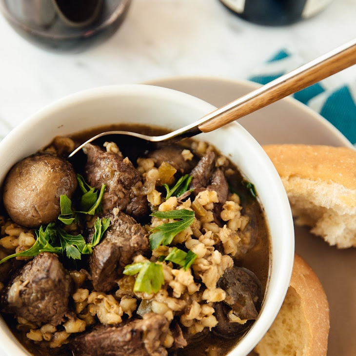 Slow-Cooker Beef and Barley Stew with Mushrooms Recipe | Yummly