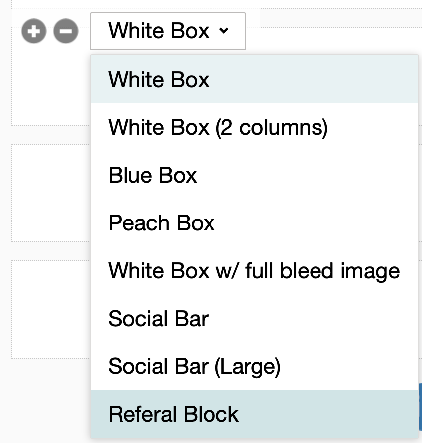 Email template block options.
