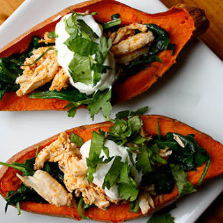 Sweet Potato Skins with Chicken and Spinach.