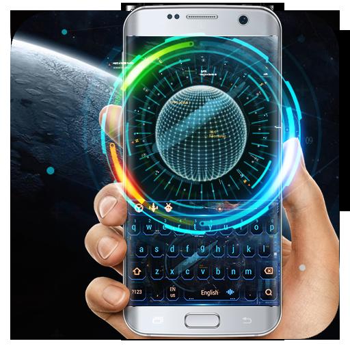 earth galaxy keyboard space warship neon
