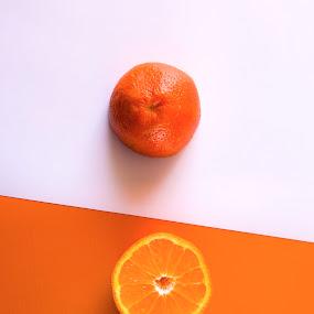 Orange by Tiberiu Stefan  Simion - Abstract Patterns ( orange, fruit, white, half, slice )