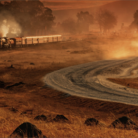 Steam and dust by Kittie Groenewald - Transportation Trains ( steam train, dust, landscape,  )