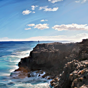 Fisherman by Jonathan Stolarski - Digital Art Places ( digital painting, fishing, hi, painting, hawaii, photoshop )