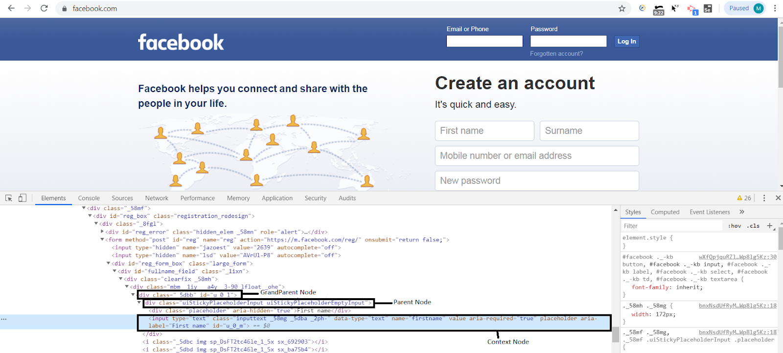 Facebook XPath in Selenium example