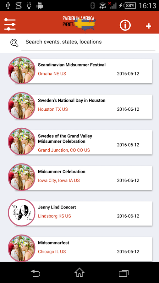 Sweden in America: Events- screenshot