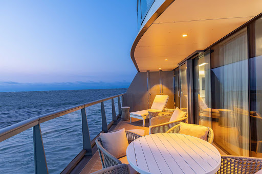 Look out at the Galapagos Islands from the veranda of a Royal Suite on Silver Origin.