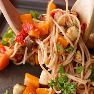 Japanese Roasted Ratatouille Spaghetti (GF, Vegan, Vegetarian, Dairy Free, Oil Free).