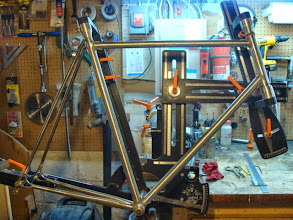 Photo: 2nd morning, the lugs are all cut and prepped, and I've also slotted and ground the dropout end of the seat stays.  I'll fit them up to the seat lug once I've got the frame tacked.