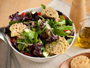 Photo: Mixed Green Salad With Parmigiano Crisps: Turn a simple salad into a feast when you add Anne's addicting, cheesy crisps. Get this recipe >> http://ow.ly/aI1be