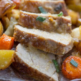 Oven Roasted Pork Tenderloin with Apples and Vegetables.