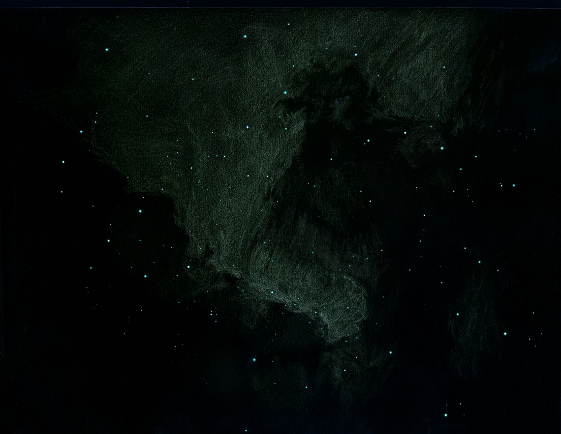 Photo: La nébuleuse América, NGC7000. Ou plutôt un petit morceau de cette immense nébuleuse, qui correspond au golfe du Mexique. Dessin fait sur deux nuits. T406 à 88X et filtre OIII, les 29 et 30 juillet 2011 depuis Ste Gemme. Nébuleuse très ténue mais aussi très texturée.
