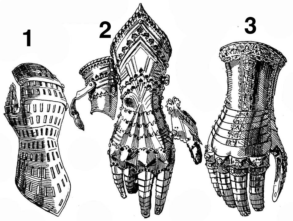 """plate gauntlets, illustrations from """"Handbuch der Waffenkunde"""" W. Boeheim"""