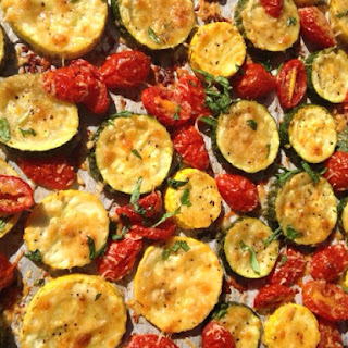 Roasted Zucchini and Summer Squash with Tomatoes