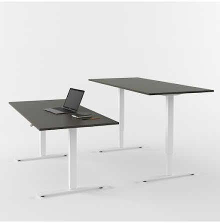 Skrivbord el vit/grå 1200x800