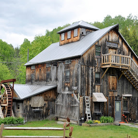 Old grist mill by Janice Burnett - Buildings & Architecture Decaying & Abandoned ( unique, obsolete, grist mill, nostalgia, old building, abandoned )