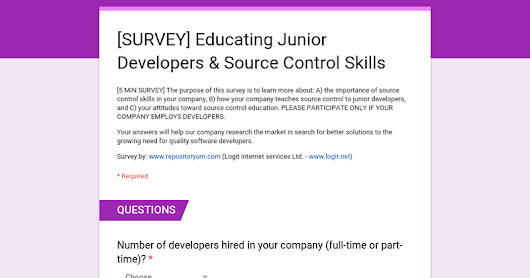 [SURVEY] Educating Junior Developers & Source Control Skills