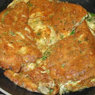 Palestinian Parsley And Onion Omelet.