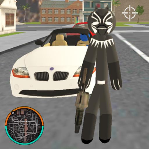 Panther Stickman Rope Hero Crime City Battle