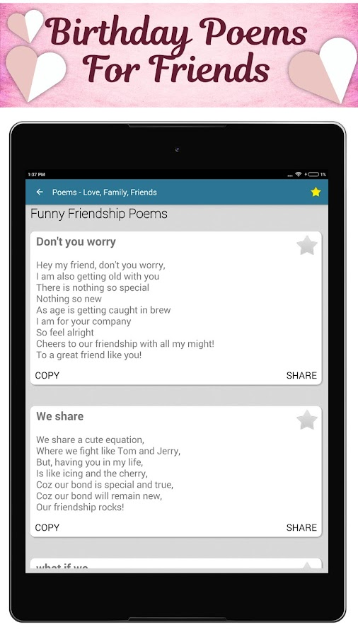 Poems For All Occasions - Love, Family & Friends- screenshot